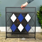 Blue & White Diamond Pattern Fire Screen to Scale