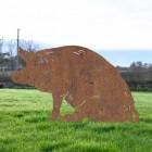 Rustic Finish Sitting Pig Silhouette