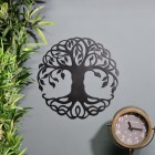 Tree of Life Wall Art on Blue Wall beside Plant & Clock