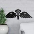 Black Wall Art of 'Parachute Wings' in Situ