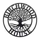 """""""Tree of Life"""" Circular Iron House Name Sign in Black"""