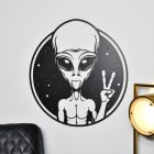 Peace Sign Alien Wall Art in Situ in the Sitting Room