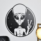 Peace Sign Alien Wall Art finished in Black