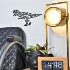 Geometric T-Rex Wall Art in Living Room Setting