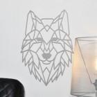 Geometric Wolf Head Wall Art in Grey Finish