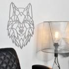 Grey Geometric Wolf Head