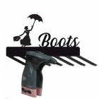 Wall Mounted Liver Bird Iron Boot Holder Finished in Black