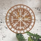 """Vegvisir"" Viking Compass Wall Art in Situ on a Rustic Brick Wall"