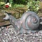 Snail Garden Ornament in a Verdigris Bronze Finish