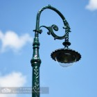 Vintage Green Ornate Scroll Lamp Post Bracket and Luminaire