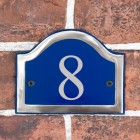 The Number 8 in Vinyl on the Arched Blue & Chrome Number Plaque