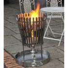 """""""Vulcan"""" Stainless Steel Log Burner in Situ in the Garden"""