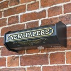 Wall Mounted Newspaper Tube In Black and Gold