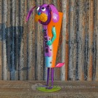 Colourful recycled Metal Dog Planter With welcome Sign