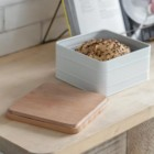 White Cake Tin with Beech Wood Lid in Use