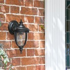 """Winsford"" Traditional Top Fix Black Wall Lantern in Situ by the Front Door"