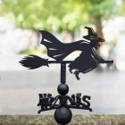 Witch Riding Broom Weathervane in Situ in the Garden