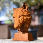 Wolf Garden Bust Finished in a Rustic Finish