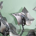 Close-up of the Metal Leaves on the Owl Wall Art Sculpture
