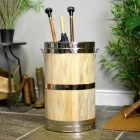 Wooden Umbrella & Walking Stick Stand with Polished Brass Fixings