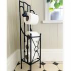 """""""Wraymond"""" Floor Standing Black Toilet Roll Holder in Situ in the Bathroom"""