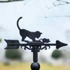 Cast Iron Cat & Mouse Weathervane Topper close-up