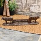 Rustic Cast Iron Ornate Cow Boot Scraper