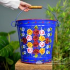 XXL Hand Painted Blue Log Bucket to Scale