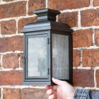 """Traditional """"York"""" Aged Copper Wall Lantern to Scale"""