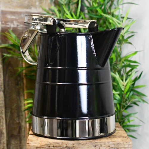 2 Gallon Watering Can in Black & Chrome