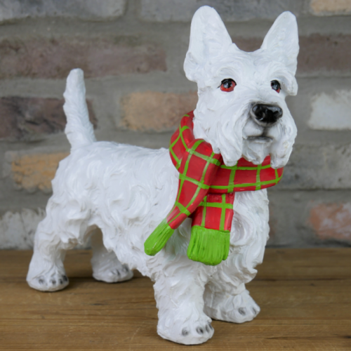 Christmas Scottie Dog Sculpture
