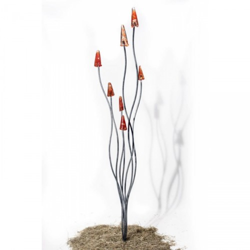 Red Toadstool Sculpture Created From Galvanised  Steel