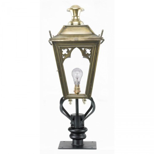 Brass Gothic Pillar Light and Lantern Set 90cm