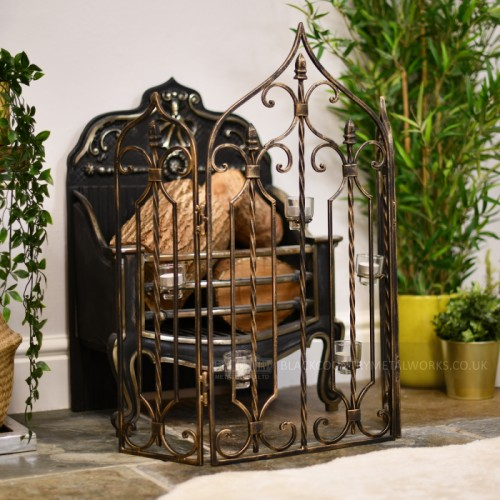"""Athelburgh Abbey"" Wrought Iron Fire Screen in Bronze"
