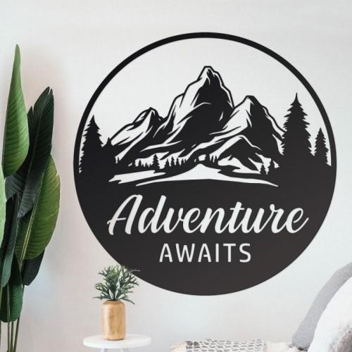 Black Adventure Awaits Wall Art