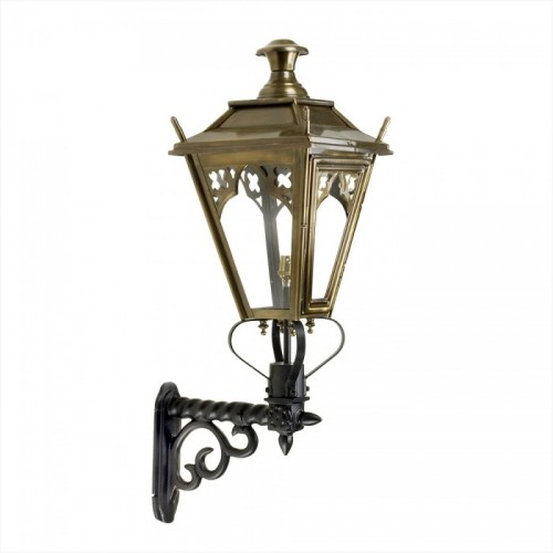 Brass Gothic Wall Light on an Ornate Wall Bracket