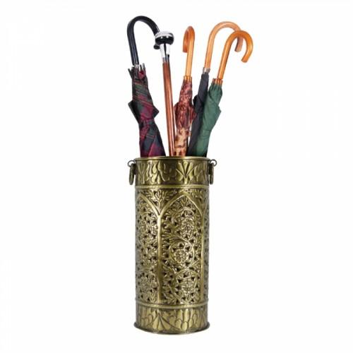 Antique Brass Woodland Design Umbrella & Walking Stick Stand
