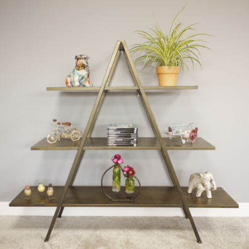 Antique Gold Finish Triangular Three Tier Shelf