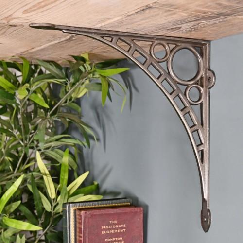 Antique Nickel Ironbridge Shelf Bracket in Situ Holding up a Wooden Shelf
