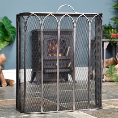 Gothic Style Fire Guard Finished in an Antique Pewter Finish