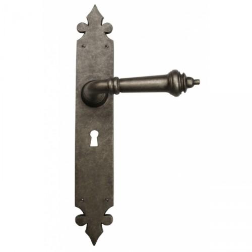 Euro Cylinder Lever Handle Set Solid Bronze Antique Pewter