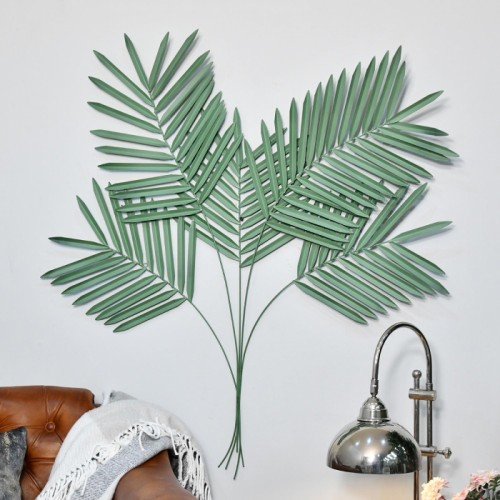 """""""Areca Palm"""" Leaves Wall Art in a Green Finish"""