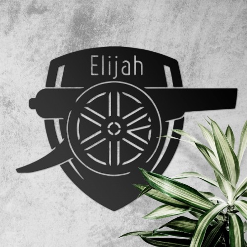 Personalised 'Arsenal Cannon' Wall Art in Black