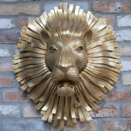 Artistic Gold Lion Head Wall Art in Situ in the Home