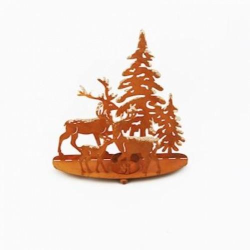 Metal Christmas Tree & Reindeer Candleholder