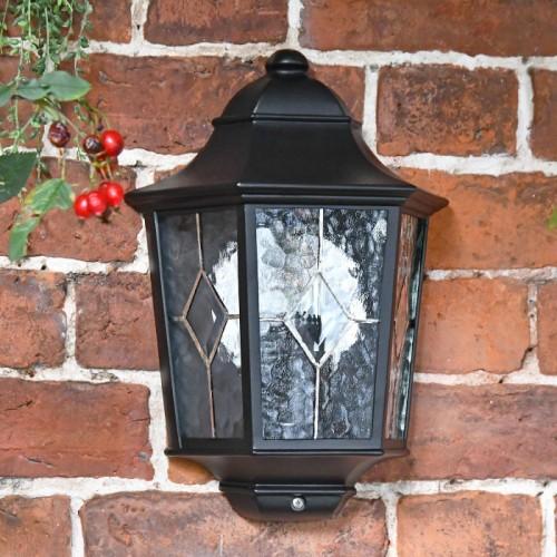 """Avebury Manor"" Traditional Half Lantern Wall Light in a Black Finish"
