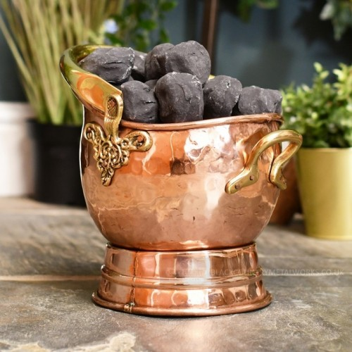 """""""Windsor"""" Coal Bucket Finished in Copper and Brass"""