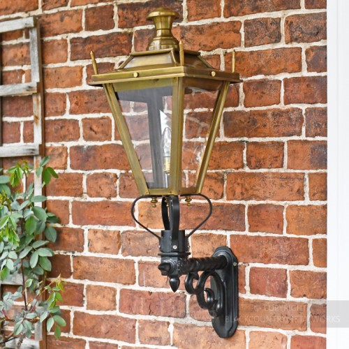 Antique Brass Dorchester exterior lantern on wall mounted bracket