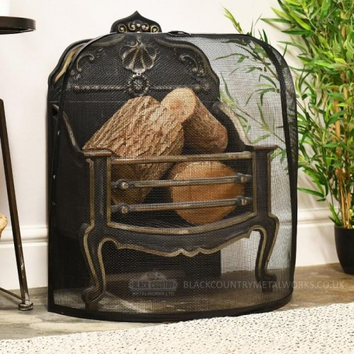 """""""Alsrook Croft"""" Dome Design Spark Guard in Situ by the Fire Place"""