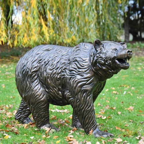 Bear Cub Antique Bronze Garden Sculpture in Situ